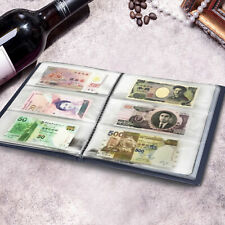 60pockets Soft Leather Notes Album Banknote Paper Money Collection STAMPS Book M