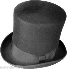 CILINDRO 19CM NERO LANA cappello feltro-lana dressage Gotico Steampunk