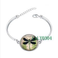 Dragonfly  glass cabochon Tibet silver bangle bracelets wholesale