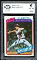 1980 Topps #580 Nolan Ryan Card BGS BCCG 9 Near Mint+