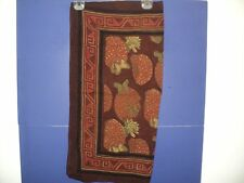 """ANOKHI Scarf India 29"""" x 29"""" Strawberries & Butterflies Brown, Red, Green Cotton"""