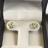 2 Ct Studs Diamond Earrings Fancy Yellow Round Man Made 14k Solid Gold