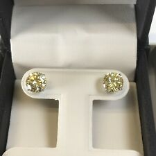 Yellow Round Man Made 14k Solid Gold 2 Ct Studs Diamond Earrings Fancy