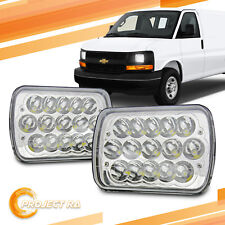 Pair 7x6 Chrome 6000K LED Headlights for Chevy Express Cargo Van 1500 2500 3500