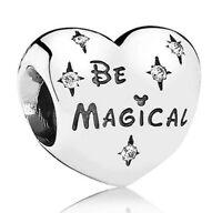 925 Sterling Silver Disney Be Magical Clear CZ Heart Fit European Charm Bracelet