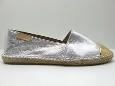 Mint & Rose Portofino Leather Espadrille SlipOn Flat Silver Gold 6 37 NEW $160