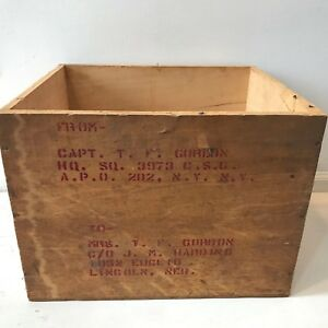 Vintage WW2 WWII Wood Shipping Crate Stenciled Mailing Box Air Force Capt Wife