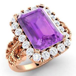 IGI Certified 1.20ct Natural Round Diamond 14K Rose Gold Amethyst Wedding Ring