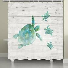Coastal Shower Curtain Fabric Curtains Sea Turtle on Gray Wooden Panels & Hooks