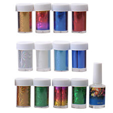 12 Colors Nail Art Wrap Foils Transfer Glitter Sticker Polish Decal Glue Set