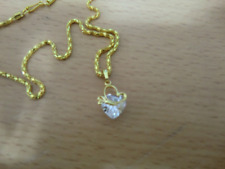 9K gold filled with chain Classic cubic zirconia Heart Pendant on