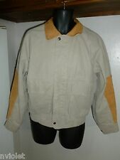 THE AUSTRALIAN OUTBACK JEAN DENIM JACKET LEATHER COAT BOMBER BEIGE SZ XSMALL
