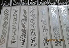 24  PCS WHOLESALE LOT ALL SILVER TEMPORARY  TATTOOS HT6610G  BODY DECOR NEW