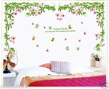 Pink Vine flowers Butterfly Removable Wall Sticker Home Decals Girls Living Room