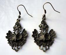 Antique Bronze Style 2 EARRINGS Owls Owl Strigiformes Bird of Prey gothic