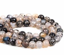10mm Round WHITE CHOCOLATE AGATE Beads, faceted, full strand, 38 beads gag0359