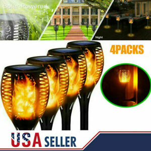 4X Solar Powered 12 LED Tiki Torch Garden Flame Flickering Light Waterproof Lamp