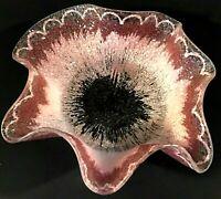 "DOROTHY THORPE BOWL STARBURST PINK RUFFLED CRACKLE GLASS VINTAGE MCM 7 1/4"""