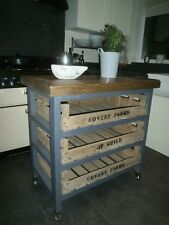 DARK OAK STAINED HANDMADE RUSTIC COUNTRY KITCHEN ISLAND BUTCHERS BLOCK CASTERS