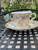 Colclough-Product of Ridgway Potteries LTD. Gold Leaf Tea Cup Saucer England