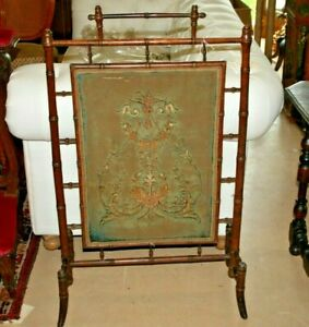 Antique English Victorian Faux Bamboo Screen Aesthetic Period Hollywood Regency