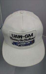 Vtg UAW GM General Motors Union Member Adjustable White Hat Cap Automotive Truck