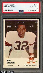 1961 Fleer Football #11 Jim Jimmy Brown Cleveland Browns HOF PSA 6 EX-MT