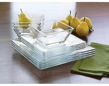 Dinnerware Glass Set Square Plates Dishes Bowls Salad Dinner Clear Service 12 Pc
