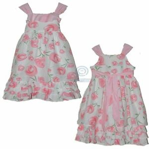 Flower Girls Dress Birthday Party Formal Gown Mini Layer Pink Ribbon Size 5 - 13