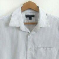 Banana Republic Mens Sz M Slim Fit White Striped Short Sleeve Button Front Shirt