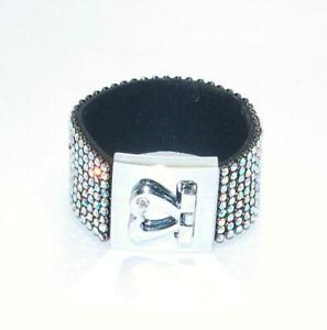 Iridescent Cuff Bracelet With Rhinestones by The Olivia Collection
