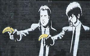 "Banksy, Pulp Fiction, Graffiti Art, Giclee Canvas Print, 10""x16"""