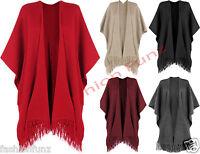 Womens Knitted Tassle Baggy Cardigan Cape Jacket Poncho Ladies Ribbed Shawl 8-18