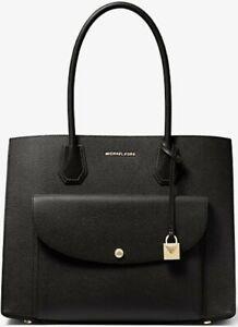 Michael Kors Mercer XL Pocket Tote • New • Black Leather • Black B12