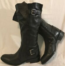 Janet D. Black Mid Calf Leather Beautiful Boots Size 39 (480v)