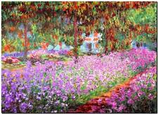 CLAUDE MONET ~ Iris Garden at Giverny  ~ *FRAMED* CANVAS ART Poster ~ 24x16""