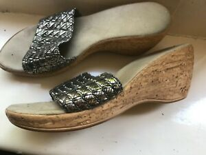 silver wedge 2.5 inch wedge shoes,marked 4.5 UK