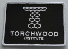 "Doctor Who TORCHWOOD INSTITUTE 4 1/4"" Wide White on Black Embroidered PATCH"