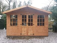 12x10 Wooden Summer House/ Garden Room With 2 Fixed Windows  Redwood T+G