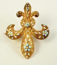 Victorian 14K Yg Fleur de Lis Blue & White Enamel Flower Watch Fob Hanger Pin