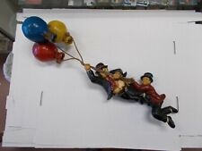 Vintage Laurel and Hardy Resin Hanging From Rope/Balloon Figurines