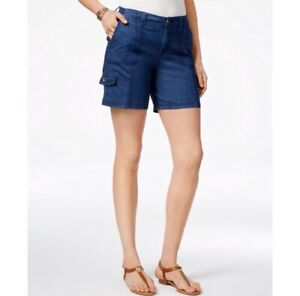 Style & Co Shorts 12 Petite Chambray Comfort Waist Mid Rise Casual NEW $46