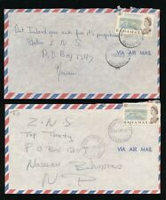BAHAMAS 1968 GREEN TURTLE CAY + HARBOUR ISLAND 8c on AIRMAIL ENVELOPES...2 ITEMS