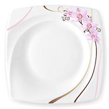 Madame Orchidee 6 Speiseteller Ess Teller flach 27,5cm für 6 Personen Neu Eckig