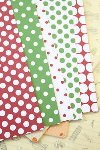 Christmas Polka Dots Card Stock 250gsm xmas paper craft cardmaking tag notecards