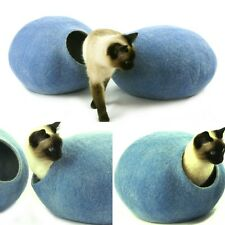 Cat cave bed,house from 100% wool for pet. handmade Color Sky Blue  Size M