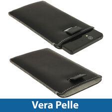 Nero Custodia Pouch Vera Pelle perSony Xperia Z Android Smartphone