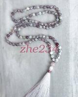 8MM natural gemstone tourmaline 108 Mala necklaces yoga meditation tassel beauty