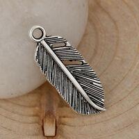 Lot 5 Pendentif Plume 26mm x 9mm couleur argenté, Pendant Cretion collier bijoux
