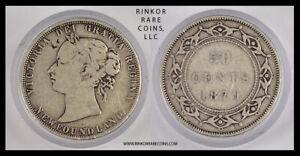 1870 NEWFOUNDLAND (CANADA) QUEEN VICTORIA 50 CENTS SILVER COIN !!!